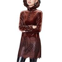 2017 Winter Warm Turtleneck Lace Patchwork Long Sleeve Blouse Women Tops Plus Size Velvet Long Shirt