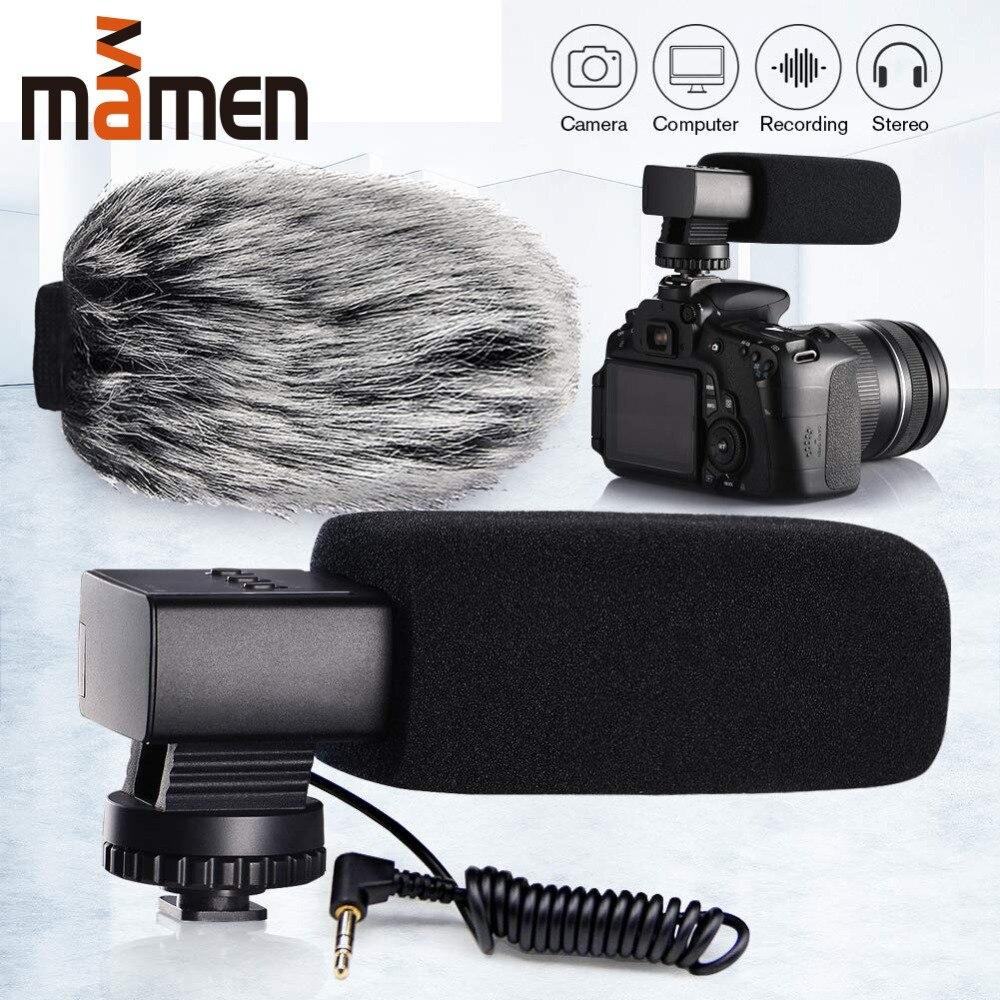 Mamen hypercardioid câmera microfone liga de alumínio vlog gravação 3.5mm microfone para telefone/câmera canon nikon sony dslr microfone