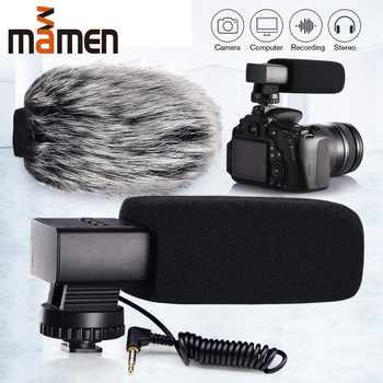 Mamen liga de alumínio câmera microfone condensador gravação microfone 3.5mm mic para dslr câmera canon nikon sony vlog microfone