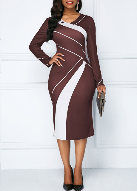 Sakazy Office Lady Geometric O-neck Women Dress Long Sleeves Colour coloured Slim And Hip wrapped Pencil 2019  Plus Size Dress 5