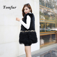 Sleeveless Mixed Patchwork Real Genuine Tan Sheep Fur Vest With Natural Raccoon Fur Gilet Mongolia Sheep Fur Coat tbsr226