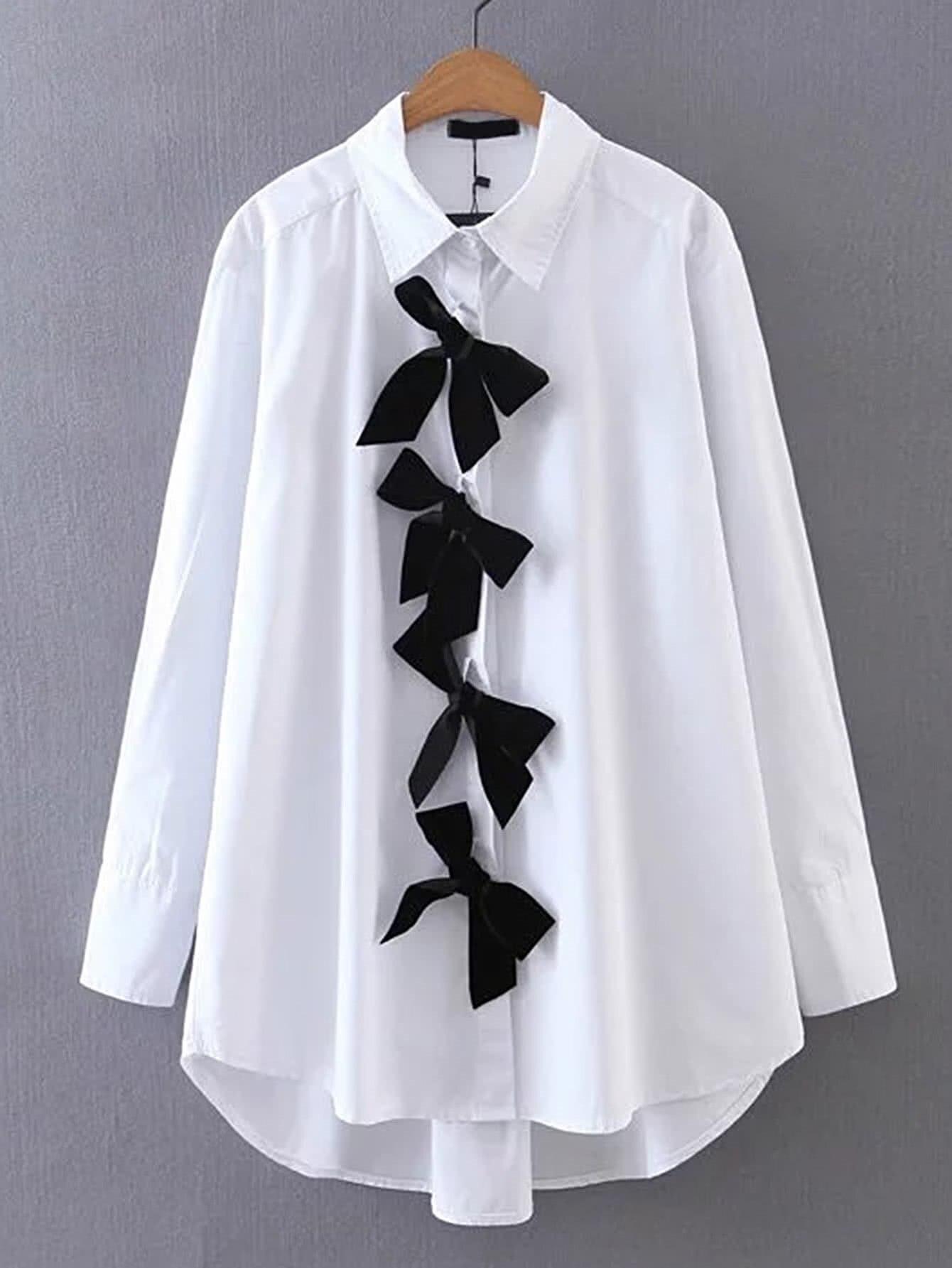 Fashion White Bow Front High Low font b Shirt b font Casual Women Elegant Long Sleeve