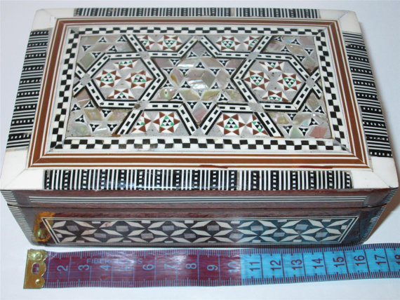 Free shipping Egyptian Mosaic Inlaid Mother Of Pearl Wooden Jewelry