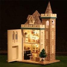 Best Price New Dollhouse Miniature DIY Handcraft Kit Dolls House With Furniture Moonlight Castle Set Best Birthday Decor Gift For Children