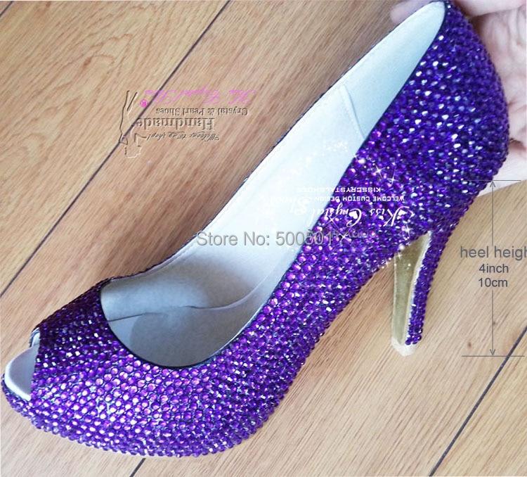 Aliexpress Buy Purple Wedding Shoes Handmade Bridal Medium Heels 4inch Peep Toe Dress From Reliable High Pumps