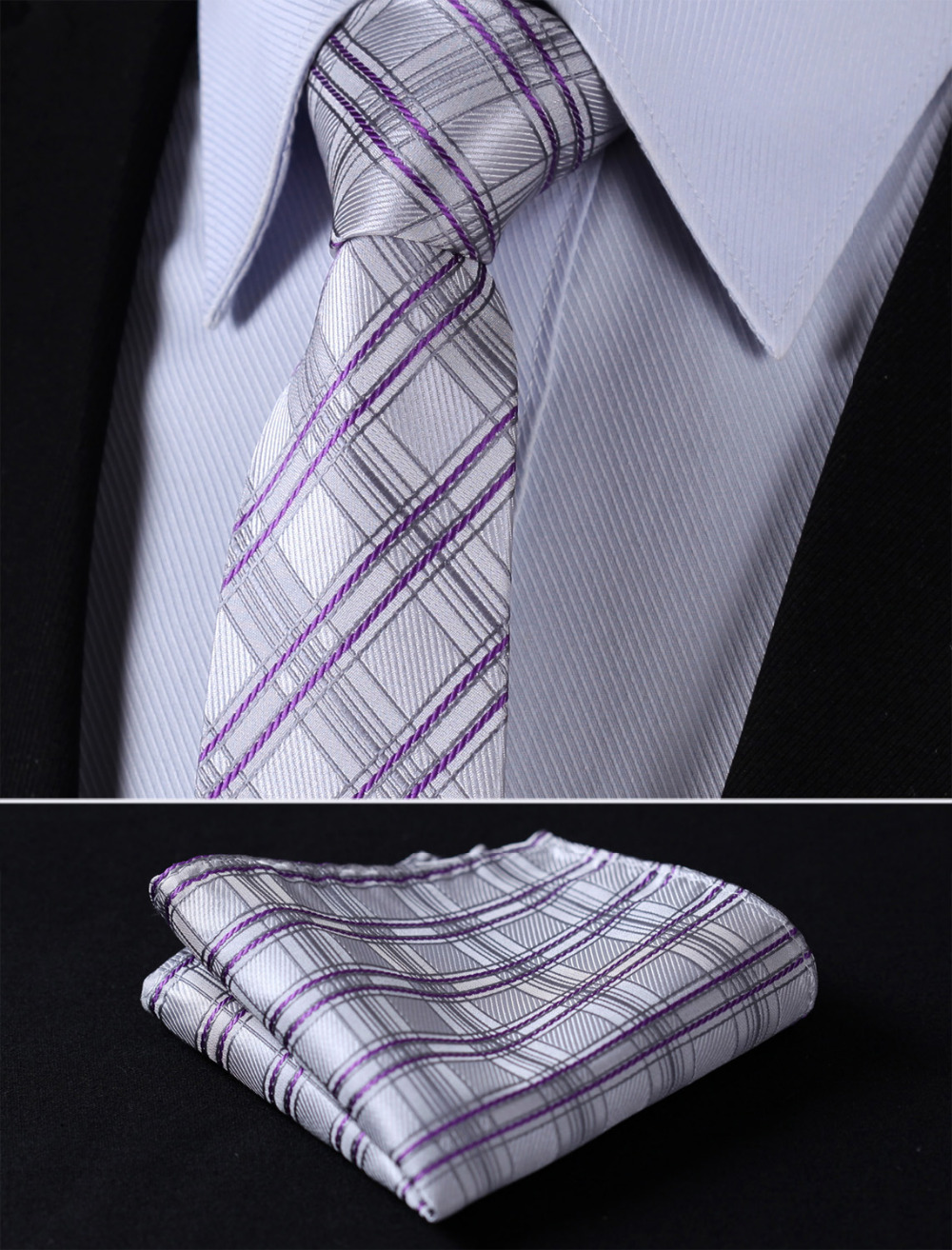 "TC4026A7 Gray Purple Check 2.75"" 100%Silk Woven Slim Skinny Narrow Men Tie Necktie Handkerchief Pocket Square Suit Set"