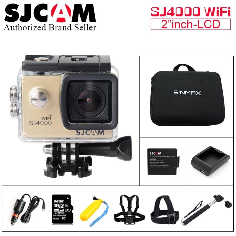 Original 100% SJCAM SJ4000 wifi  Action camera HD 1080P 2.0 inch LCD 170D lens Helmet Cam Camcorder waterproof pro sports camera gitup git1 1 5 inch lcd wifi rf control action camera