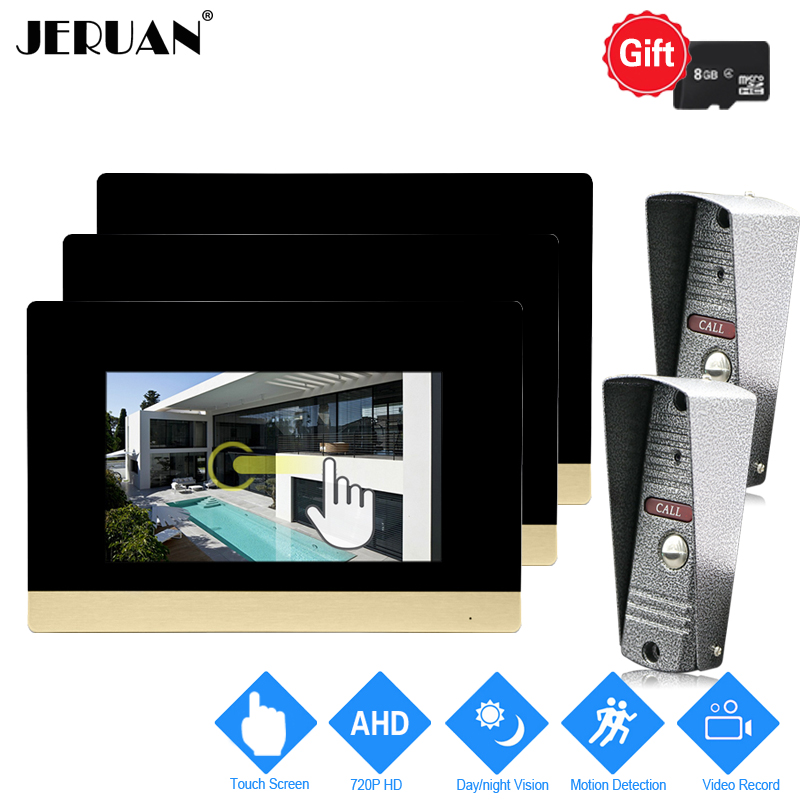 JERUAN 720P AHD Motion Detection 7`` Touch Screen Video DoorPhone Doorbell Intercom System 3 Record Monitor +2 HD IR Mini Camera jeruan 720p ahd motion detection 7 touch screen video door phone doorbell intercom system 2 record monitor hd ir mini camera