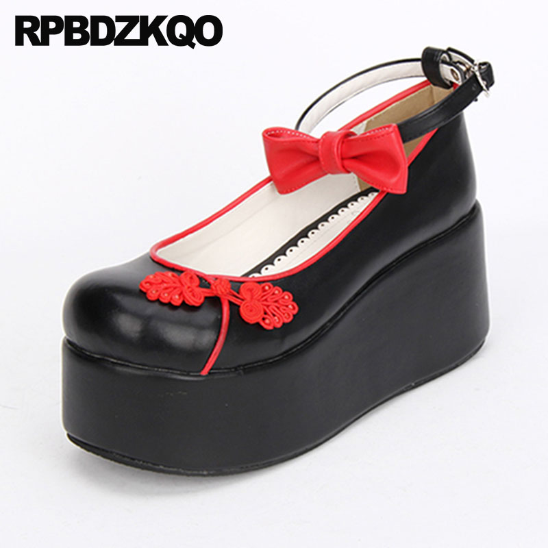 3 Inch Pumps Lolita Platform Big Women Shoes Size 45 Block Bow High Heels Crossdresser Round Toe Ankle Strap 12 44 Plus 11 43