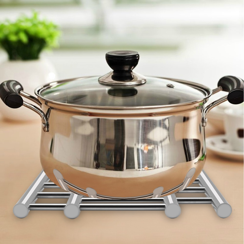 1Pcs Stainless Steel Adjustable Table Mat Pad Heat Resistant Dish Bowl Pan Holder Coasters Placemat For Kitchen Dining Table