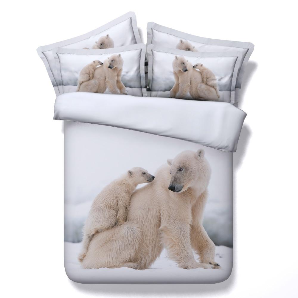 100%cotton 3d animal polar bear/cat/panda 4pcs bedding set without filler twin/full/queen/king/super king size free shipping