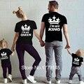 Король Королева Принц Принцесса Футболка Корона Печати Детская Одежда дети Мужской Женский Соответствующие Наряды Футболка Повседневная О-Образным Вырезом Tee Топы