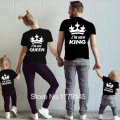 King Queen Prince Princess T Shirt Crown Print Children Clothes kids Male Female Matching Outfits T-shirt Casual O-neck Tee Tops