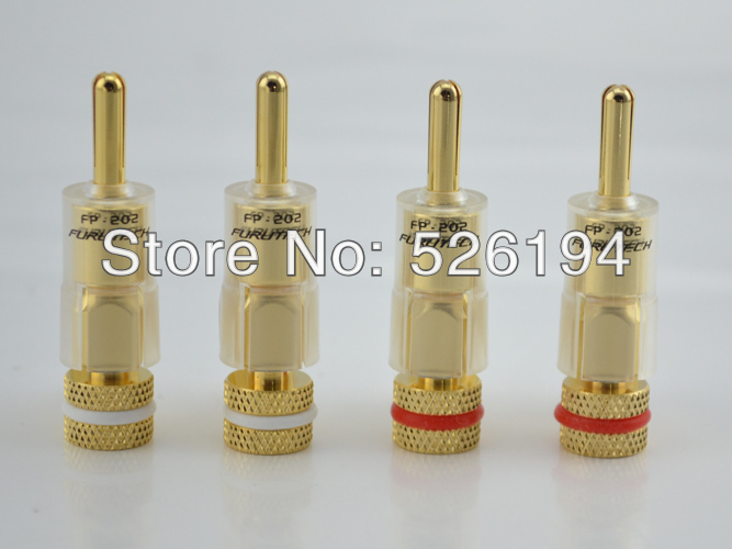 Free shipping 4Pc Furutech FP-202(G) Speaker Cable Gold Plated Banana connector Plug HIFI цена и фото