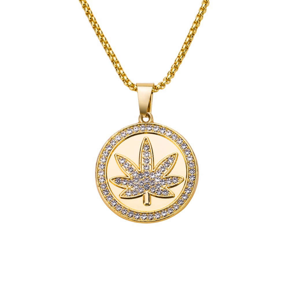 Hip Hop AAA CZ Stone Ice Out Bling Gold Color <font><b>Cannabiss</b></font> Maple Leaf Round Pendants Necklaces for Men Jewelry with 30inch Chain image