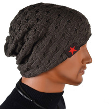 Hot sale 2014 new fashion women dress hats little five star striped knitted skullies couple winter cap sided warm HT065