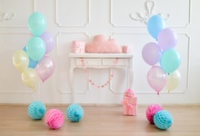 Laeacco Photo Backgrounds Gray Chic Wall Baby Birthday Party Balloons Floral Portrait Interior Backdrops For Studio