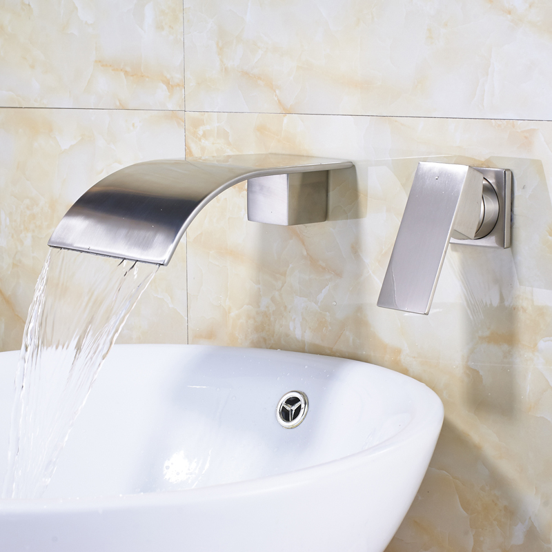 Brushed Nickel Waterfall Widespread Spout Single Handle Two Hole Bathroom  Faucet In Basin Faucets From Home Improvement On Aliexpress.com | Alibaba  Group