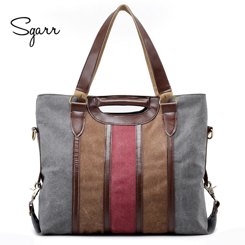 SGARR High Quality Patchwork Canvas Women Handbags New Fashion Big Women Shoulder Crossbody Bags Large Capacity Casual Tote Bag squirrel fashion large canvas shoulder bags patchwork vogue pattern brand casual vintage big color block panel women s handbags