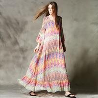 C4004 New Arrival 2016 women bohemian loose a line Pop striped chiffon long maxi beach dress summer style