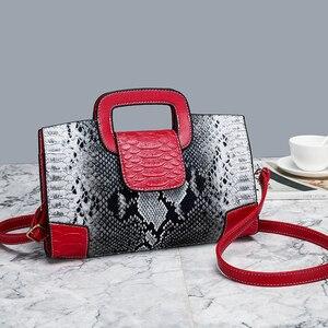 Image 5 - Classic Ladies Handbag Snake Printing High Quality Leather Ladies Crossbody Bag 2019 Luxurious Brand Women Shoulder Bag Tote