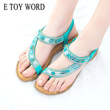 E TOY WORD Bohemian women shoes Different style fashion sandals 2019 summer blue Rhinestone flat