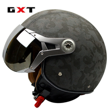 GXT casque moto G-288 motocross helmet genuine leather vintage retro Harley motorcycle capacete cascos open face helmet KTM FOX