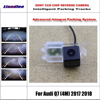 HD CCD SONY Rear Camera For Audi Q7 (4M) 2017 2018 Intelligent Parking Tracks Reverse Backup / NTSC RCA AUX 580 TV Lines