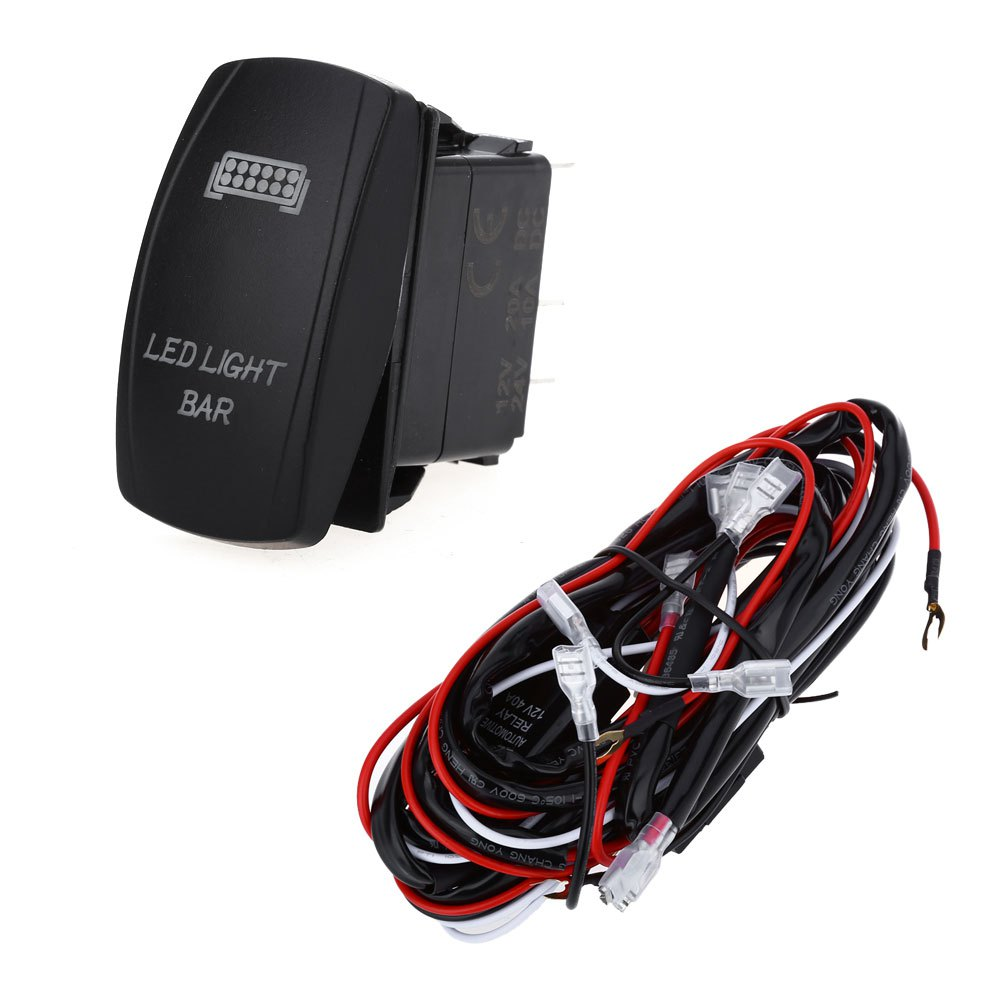 online get cheap volt switch com alibaba group 5pin 40a car relay wiring harness kit led light bar fog spot on off laser rocker switch suit for 12 volt dc power source