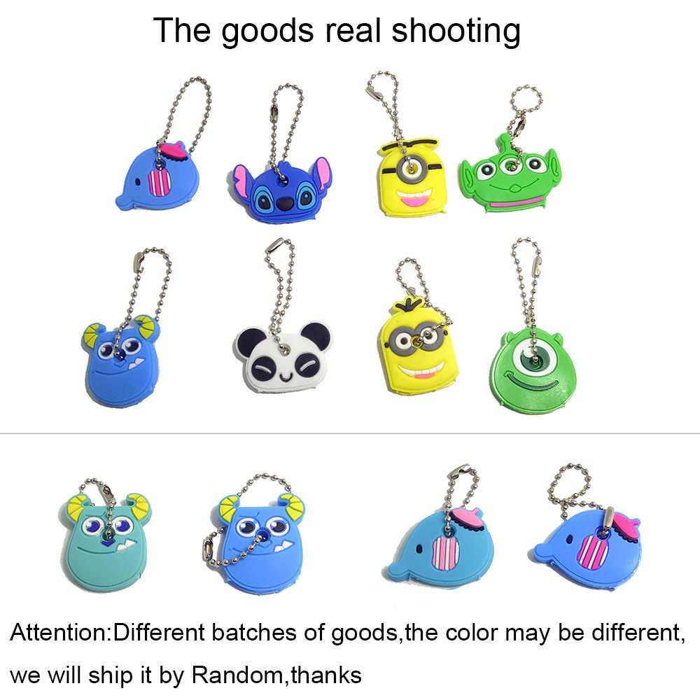 Uroru 1 peça capa de chave de silicone para as mulheres ponto chave chaveiro panda dos desenhos animados chaveiro bonito chaveiro titular presentes