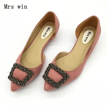 Пикантные розовые туфли-лодочки на низком каблуке с острым носком из двух частей женская обувь из флока без застежек украшенная стразами женские туфли-лодочки большого размера