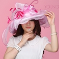 Ladies Organza Hat Derby Church Wedding Beach Cocktail Evening Party Summer Sun Cap Vintage Dress Fedora Wide Brim Hat New
