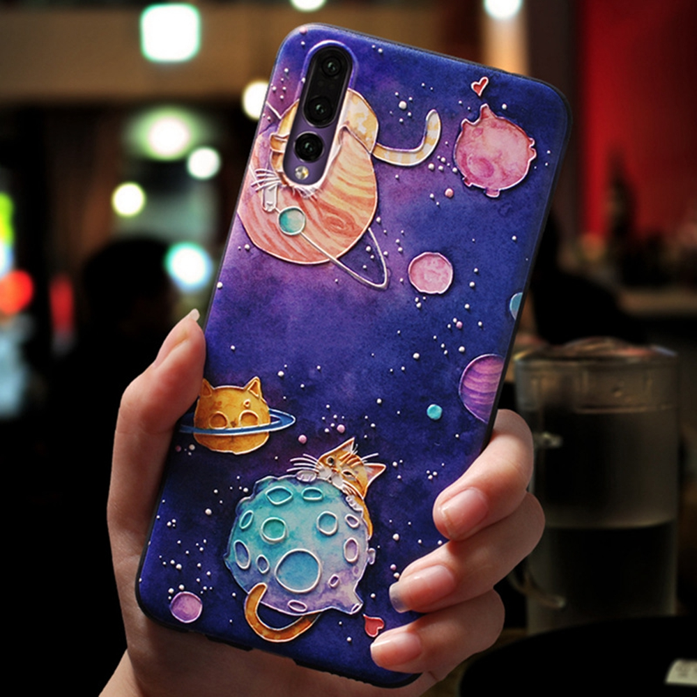 3D Planet Patterned Phone Case For Huawei Honor 8 9 10 Plus Cases P20 NOVA3E Couple Soft Back Cover Matte Shell