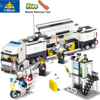 KAZI 6727 Toys Minecraft Police Station Modle Building Blocks DIY Bricks Set Educational Toys For Children