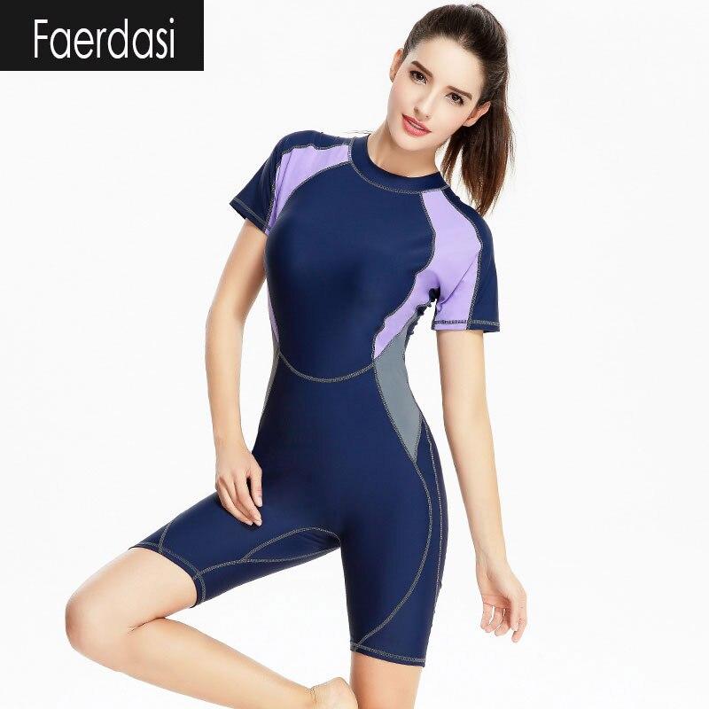 ФОТО faerdasi 2017 Female Swim Training Wear Short Sleeve Rashguard Women's Swimsuit Women O-Neck Sports Suit Long One-Piece Swimwear