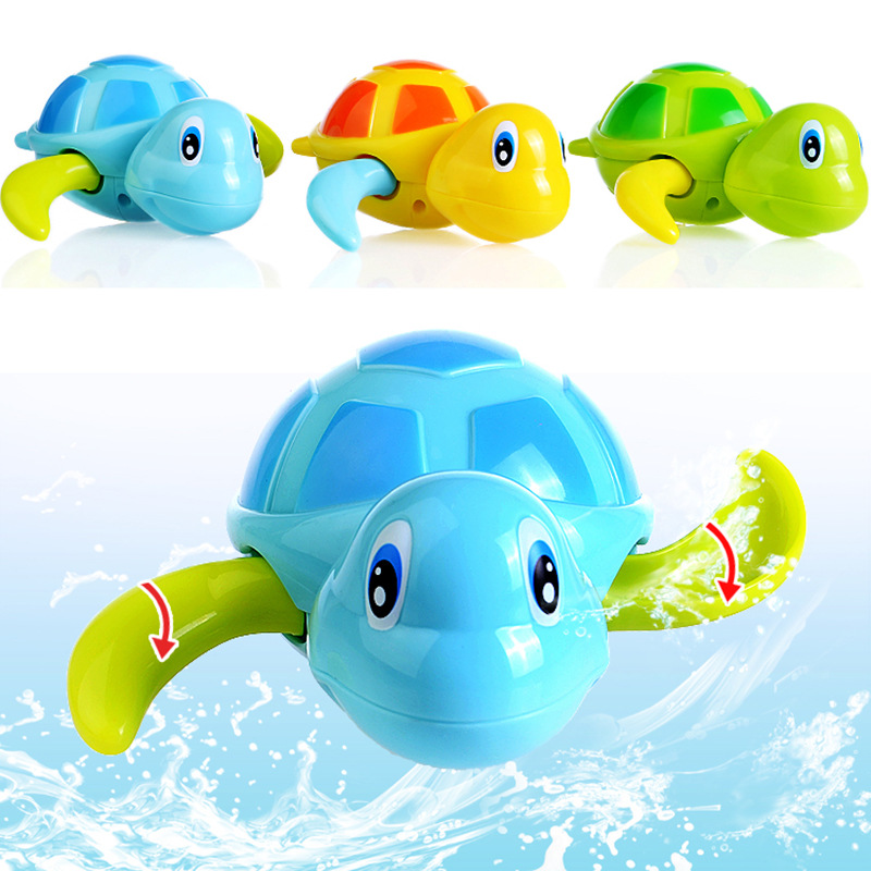 Baby take a shower BATH TOYS turtle clockwork toys for bath water on the chain of small animal toy vehicle For bath children