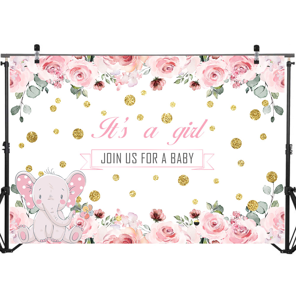NeoBack Pink Cute Elephant Baby Shower Photo Backdrop Baby Girl Pink Flowers Gold Dots Photo Background Photophone in Background from Consumer Electronics