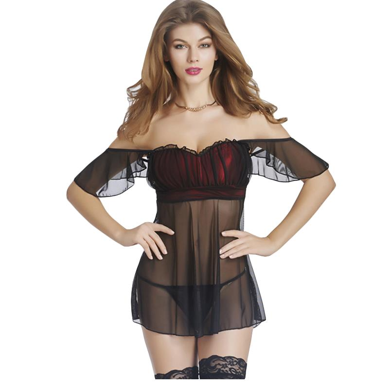 Plus Size Ultrathin Babydoll Sexy Lingerie Off Shoulder Sheer Mesh Transparent Nightwear Erotic Fetish Sleepwear Sexy Costumes