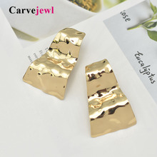 Carvejewl big stud earrings unique bumpy waved trapezoid stamping for women jewelry girl gift European