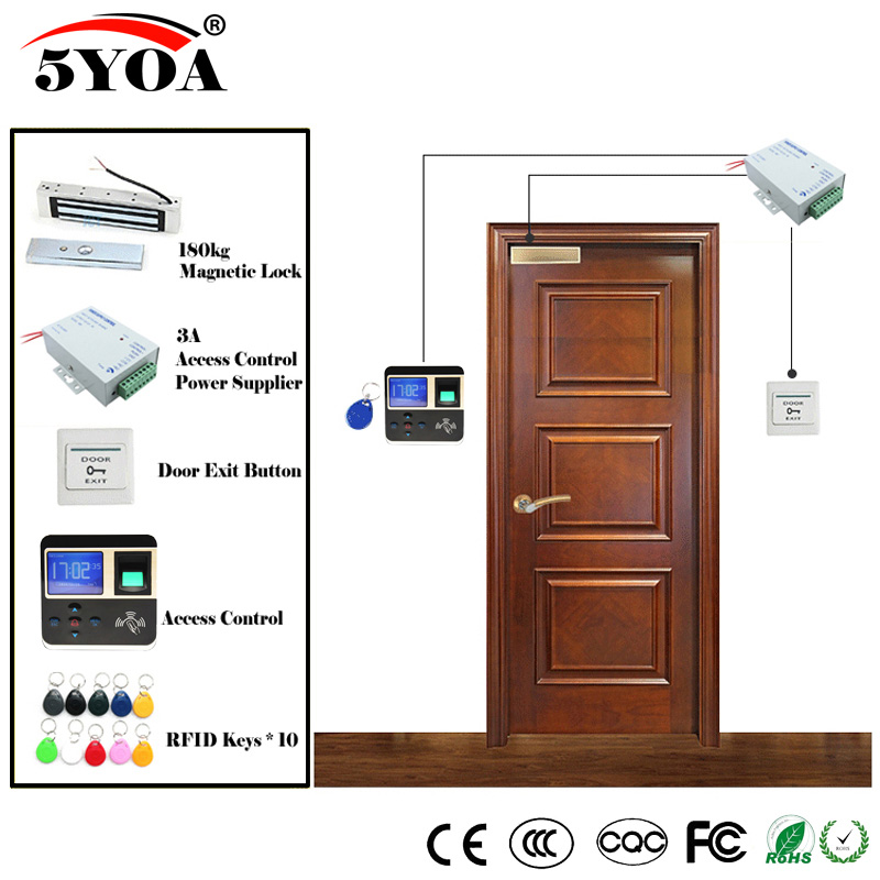 Fingerprint RFID Access Control System Kit Wooden Glasses Door Set+Magnetic Lock+ID Card Keytab+Power Supplier+Button-in Access Control Kits from Security & Protection