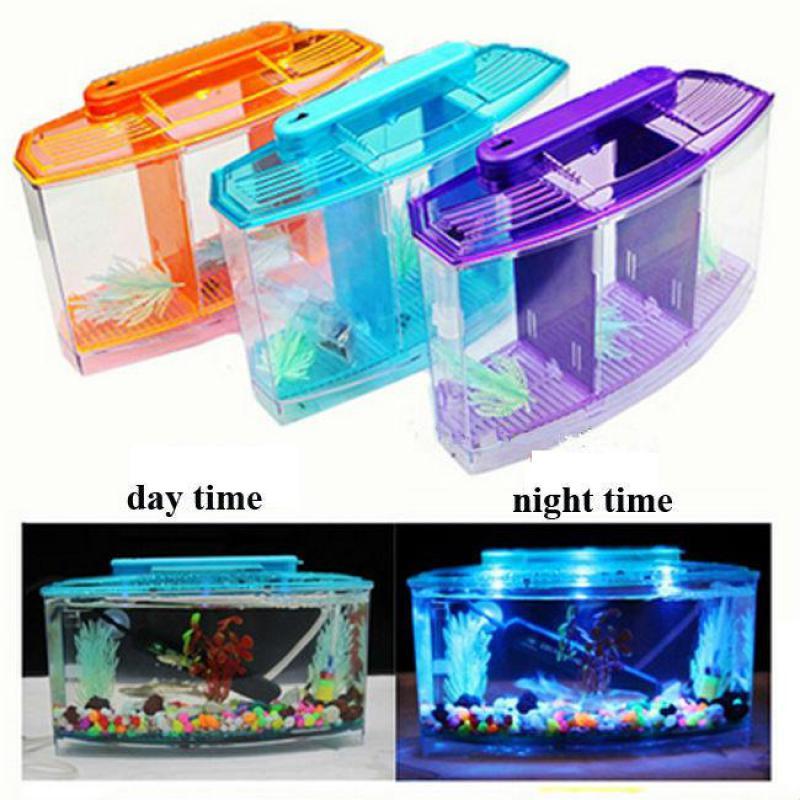 Acrylic three splits aquarium betta fish bowl led light for Betta fish supplies
