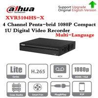 Бренд XVR5104HS-X Full HD 1080 P 4 канала пятиядерный ГП брод 1080 P компактный 1U цифрового видео Регистраторы Поддержка CVI TVI IP видео вход