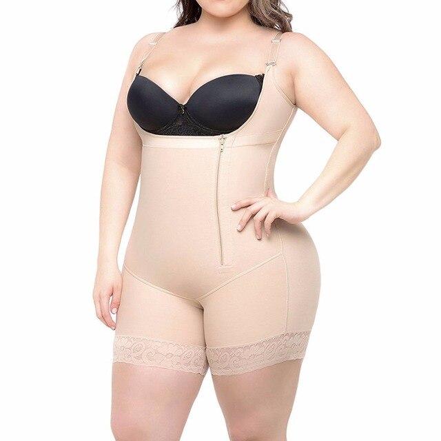 b9da32f49651c S-6XL Zip up Tummy Control Slimming bodysuit body shaper Waist trainer with butt  lifter butt enhancer for post partum women E117
