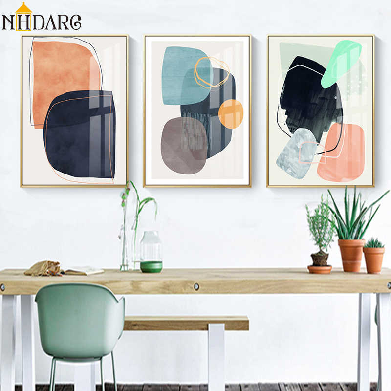 Nordic Modern Simple Color Piece Fashion Abstract Decoration Canvas Print Painting Art Wall Pictures for Living Room Home Decor