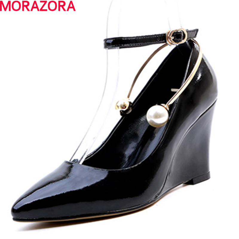 MORAZORA fashion party elegant beading genuine leather women wedges pumps pointed toe shoes woman big size 34-43 fashion genuine leather shoes woman pumps 2016 new sexy wedges high heels round toe lace up women casual party shoes size 34 39