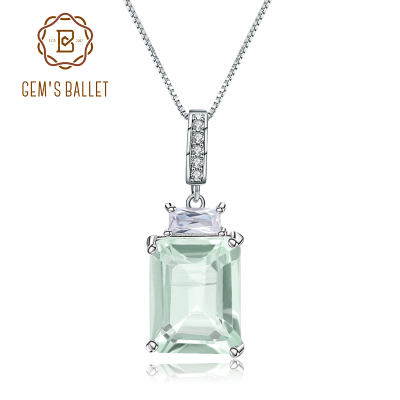 Gem's Ballet 2.05Ct Natural Green Amethyst Fine Jewelry 925 Sterling Silver Classic Gemstone Pendant Necklace For Women Wedding