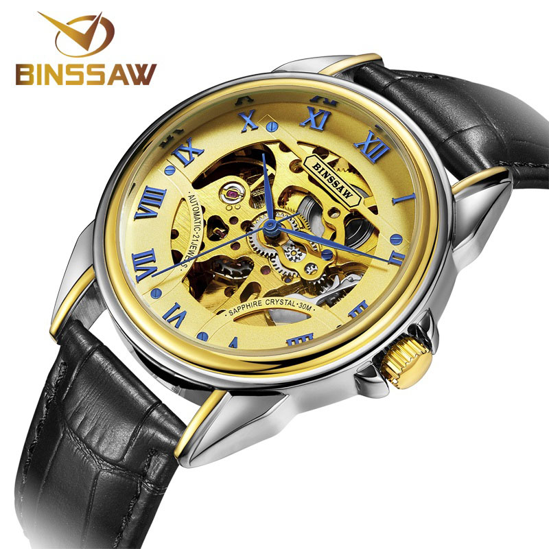 BINSSAW Marca Skeleton Gold Watches Men Mechanical Relojes de pulsera - Relojes para hombres