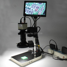 "Discount! 800TVL 1/3 ""CCD Digital Industry Microscope Camera+130X C-Mount Lens BNC Color Video Output+Stand+Lights+7-inch Monitor"