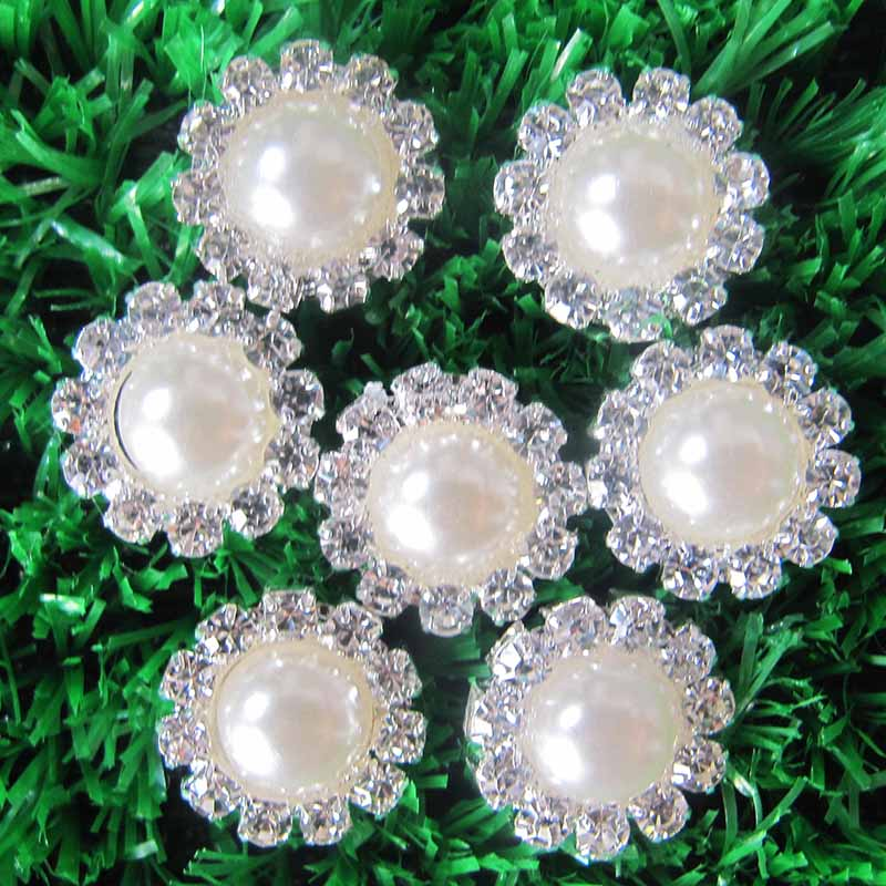 30pcs lot 15MM Flatback Round Metal Pearl Rhinestone Button Wedding Embellishment Flower Center Hair Bow DIY Hair Accessories in Buttons from Home Garden