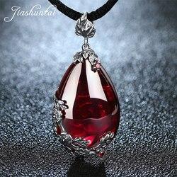 JIASHUNTAI Retro 100% 925 فضة الاسترليني الملكي الأحجار الطبيعية قلادة قلادة مجوهرات للنساء خمر
